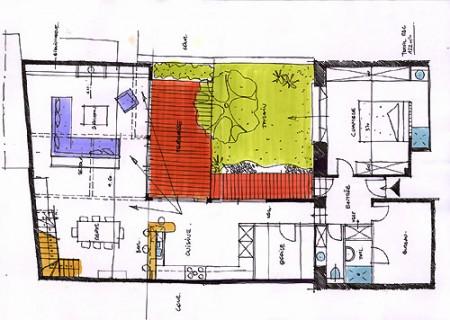 plan maison loft en bois à paris - patrick joubard