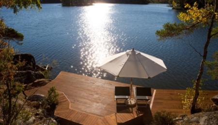 Maison bois avec vue sur lac