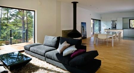 Maison en bois moderne nexthouse vue sur m6 capital - Home staging salon salle a manger ...