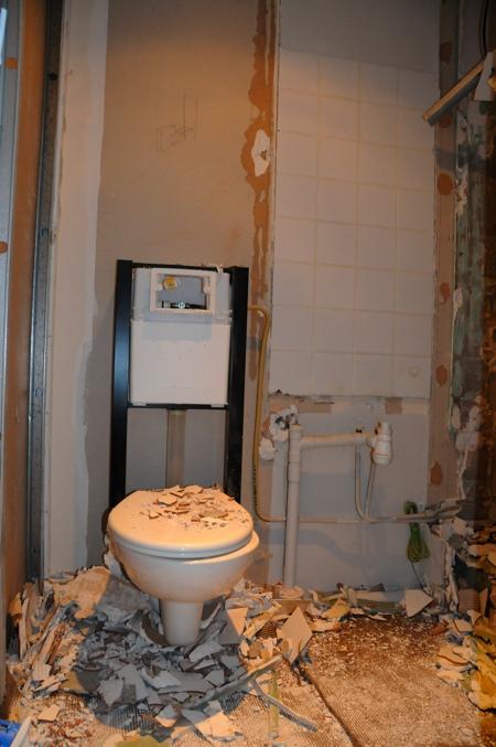 Casse des WC de la salle de douche