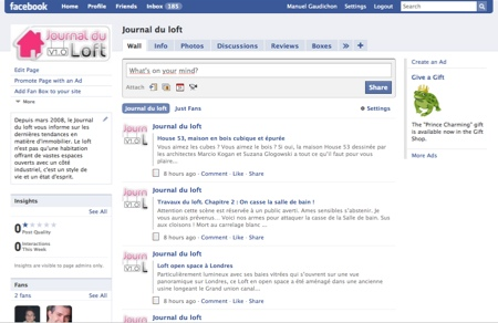 Page facebook du Journal du loft
