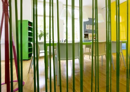 Séparateur de pièce en bambou vert