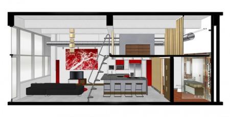 Plan de coupe d'un petit loft avec mezzanine