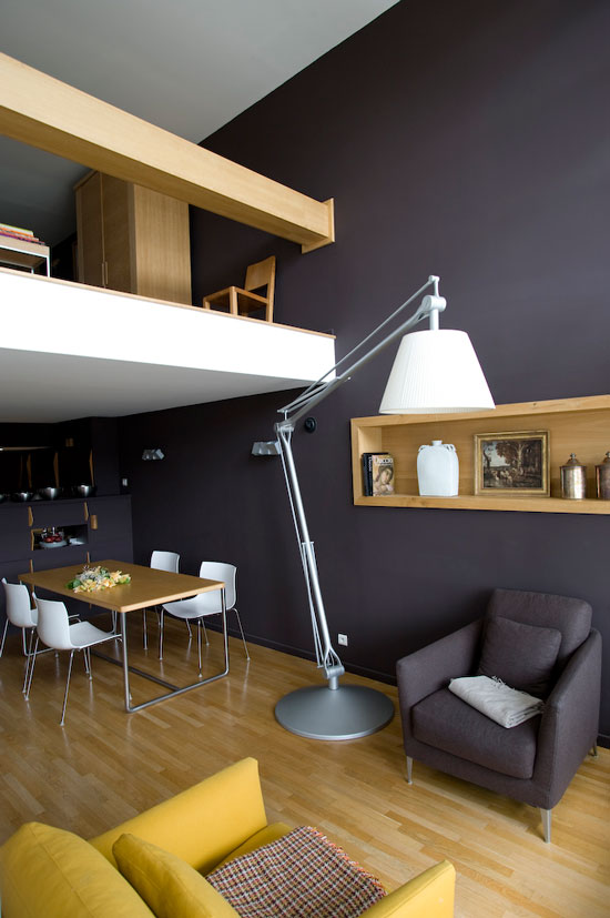 appartement loft avec mezzanine sign le corbusier journal du loft. Black Bedroom Furniture Sets. Home Design Ideas
