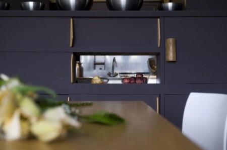 Niche de la cuisine dans un appartement loft Le Corbusier