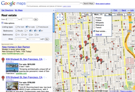 Rechercher un appartement sur Google maps