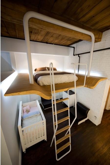 Petit loft au Canada avec une mezzanine sur mesure