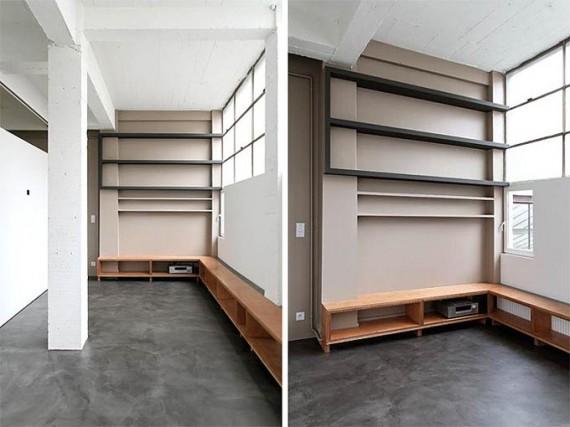 Two boxes loft : salon - bibliothèque