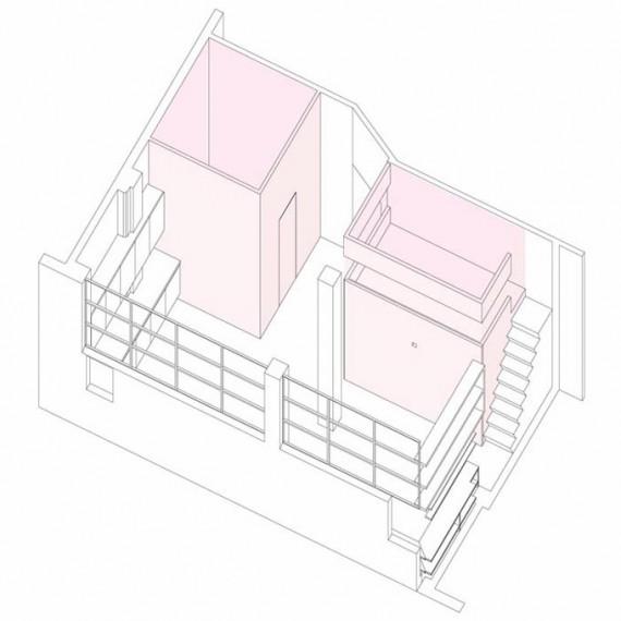 Plan en 3D du loft Two boxes