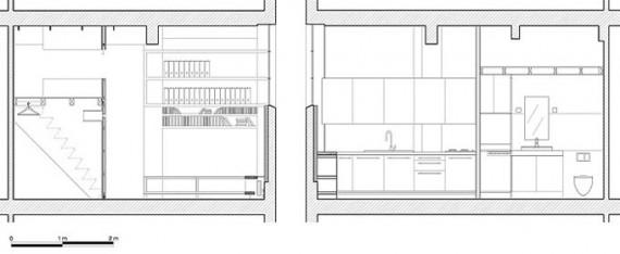 Plan de coupe du loft Two boxes