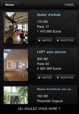 Annonces de lofts à vendre sur iPhone