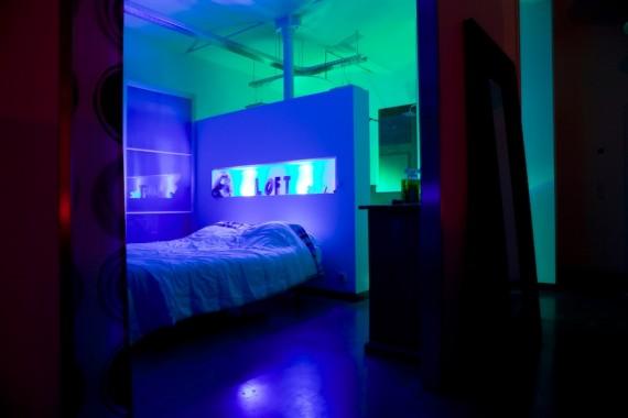 Chambre design dans un loft en Belgique