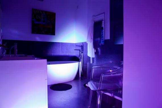 Salle de bain ambiance bleue dans un loft