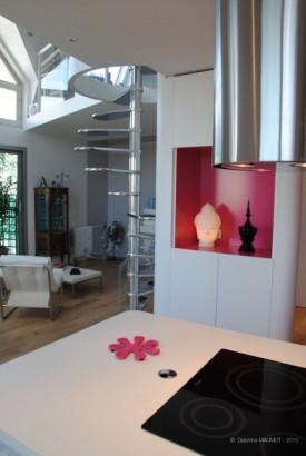Salon du duplex à Montmartre
