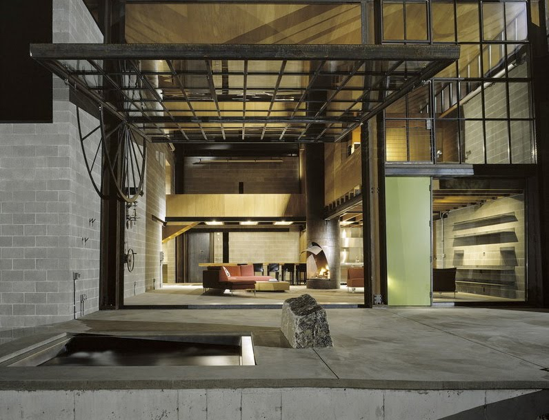 Espace indoor outdoor dans le loft chicken point cabin - Chambre style loft industriel ...