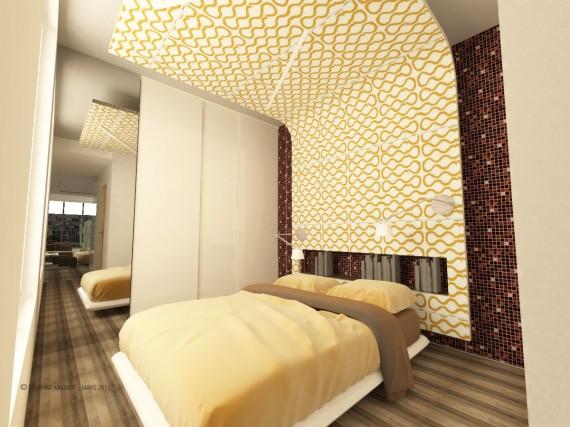 Lit à baldaquin design dans le loft Gold & Eye