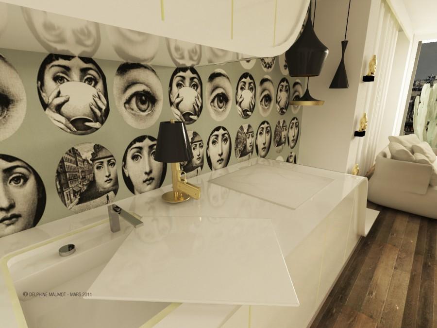 Meuble sur mesure design dans le loft Gold & Eye