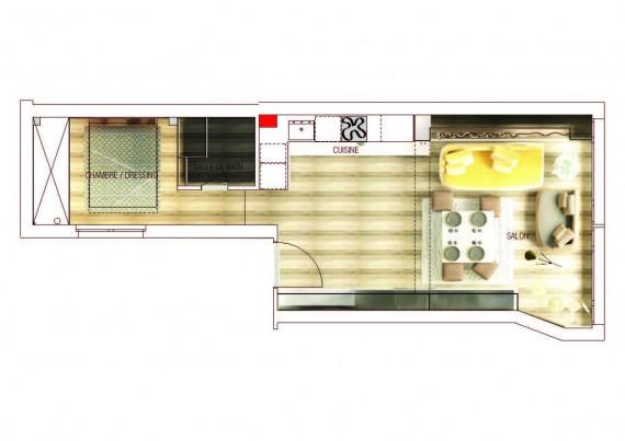 Plan de loft design à Paris Gold & Eye