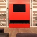 Loft rouge et blanc - cheminée rouge