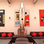 Loft rouge et blanc - fusée chromée