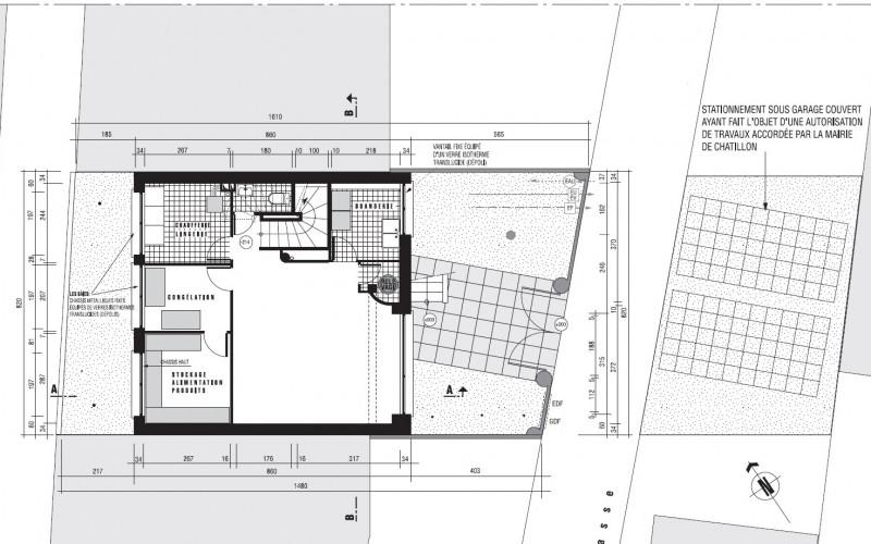 Villa style années 30 à Chatillon (92320) – plan niveau 0 entresol
