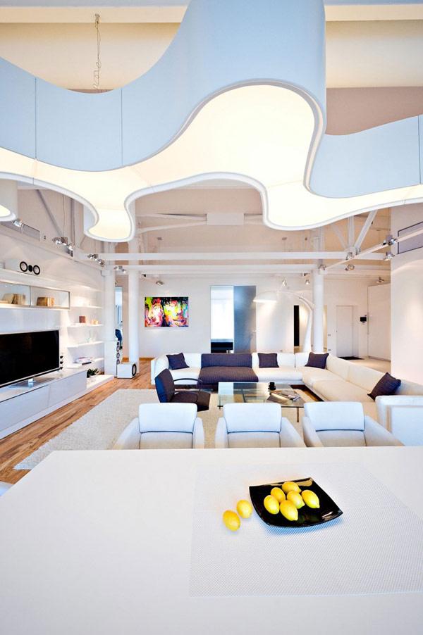 Enorme suspension design dans un loft contemporain - Loft au design contemporain chisinau en moldavie ...