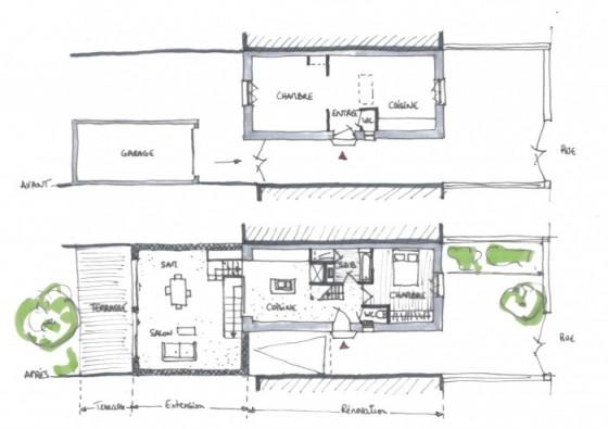 Plan d'une maison des années 50 transformée en loft