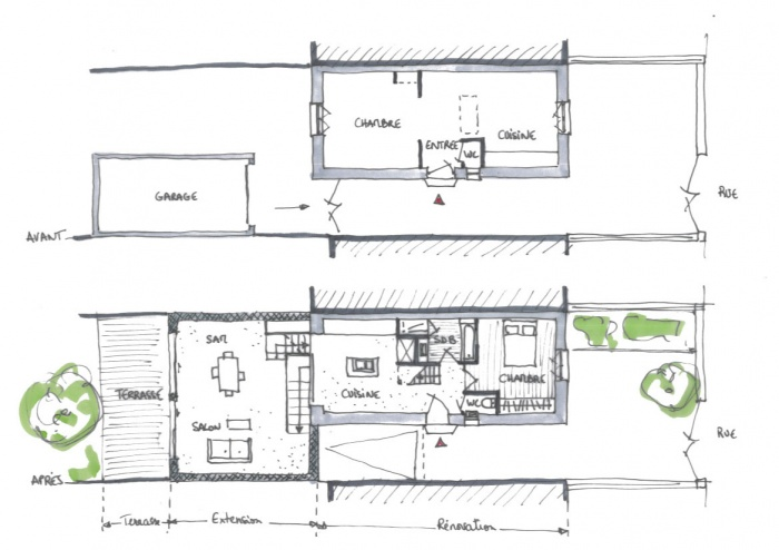 Plan Maison Mitoyenne. Interesting Plan Maison Mitoyenne With Plan