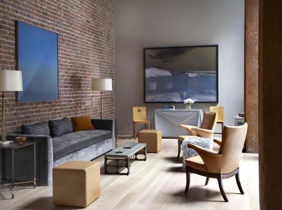 Loft à San Francisco - salon avec un mur en briques rouges