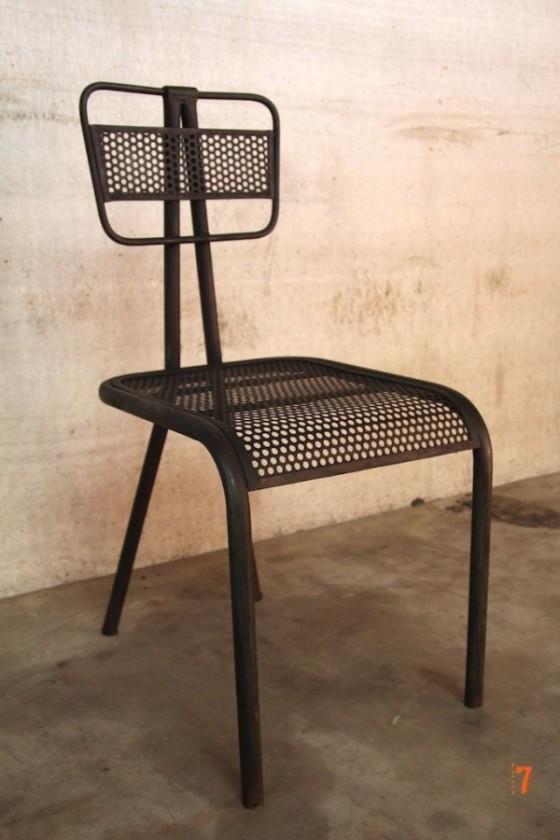 Chaise industrielle design en métal noire Barak7