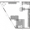 Plan d'un petit loft en triangle