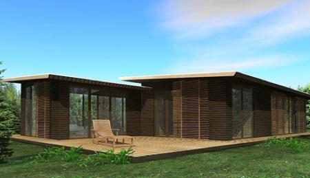 maison loft en bois avec terrasse