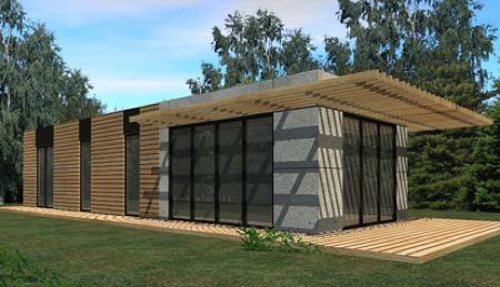 Maison en bois et pierre moderne